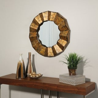 Abbyson Living Franklin Goldtone Round Wall Mirror