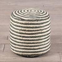 Handmade Coil Stripe Ottoman Pouf (India)