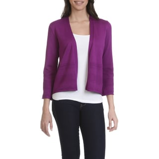 89th & Madison Women's 3/4 Sleeve Pointelle Hem Flyaway Cardigan