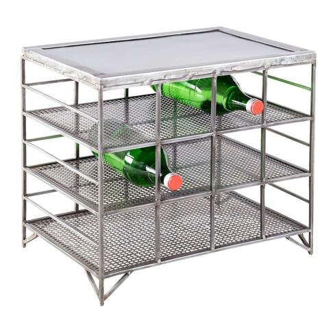 Handmade Mesh Metal 12-Bottle Wine Rack (India)