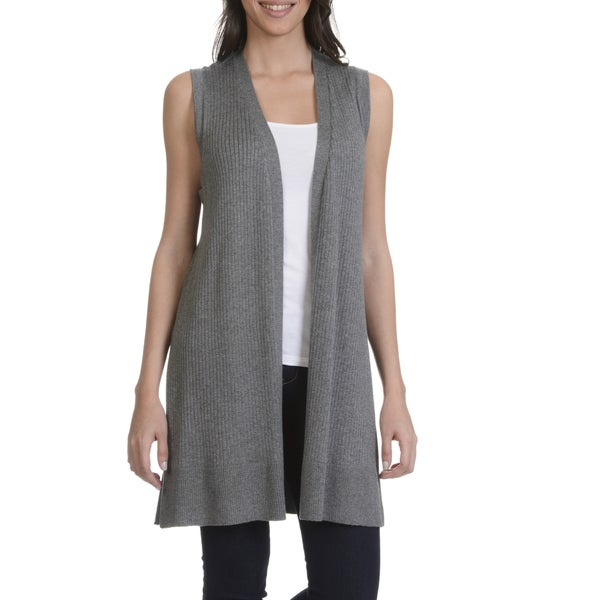 89th & Madison Women's Sleeveless Rib Duster Cardigan