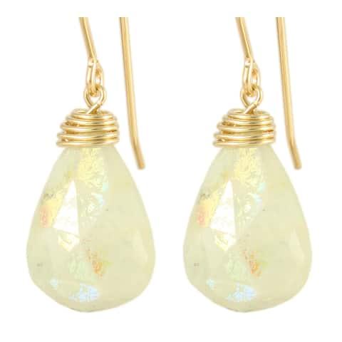 Handmade Aurora Borealis Milky Aquamarine Drop Earrings - Ivory