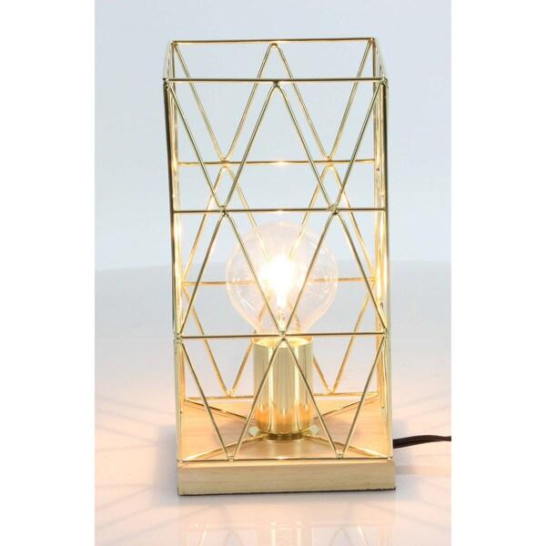 Benzara Gold-tone Metal and Wood Accent Lamp