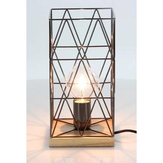 Benzara Charming Bronze Metal Wood Accent Lamp