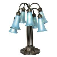 River of Goods Favrile 7-lily Blue Iridescent Glass 19-inch Table Lamp