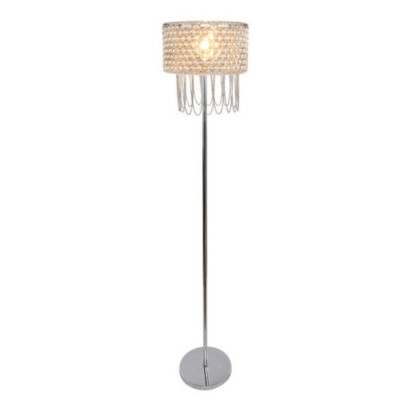 "62.25""H Champagne Plated Glass & Draped Chain Fringe Floor Lamp"