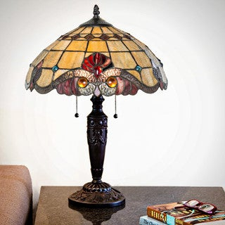 Copper Grove Carnach Multicolor Stained Glass Tiffany-style Table Lamp