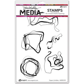 "Dina Wakley Media Cling Stamps 6""X9""-Organic Scribbles"