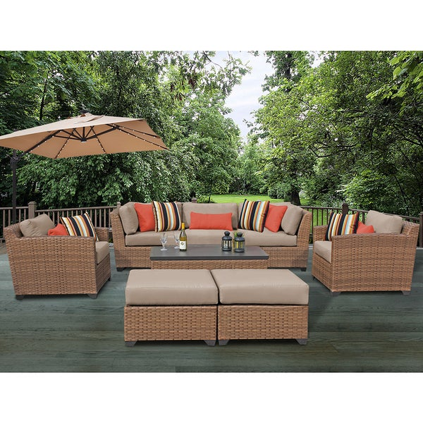 Bon Laguna 8 Piece Outdoor Wicker Patio Furniture Set 08c