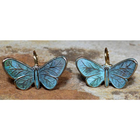 Handmade Patina Sculptural Butterfly Earrings by Elaine Coyne (USA)