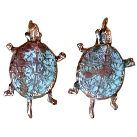 Handmade Patina Box Turtle Earrings by Elaine Coyne (USA)