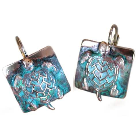 """Handmade Patina Sea Turtle Earrings by Elaine Coyne (USA) - 5/8"""" by 5/8"""""""