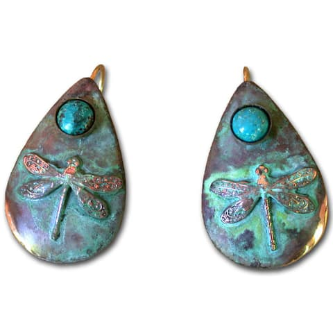 Handmade Patina Dragonfly Teardrop Earrings with Turquoise (USA)