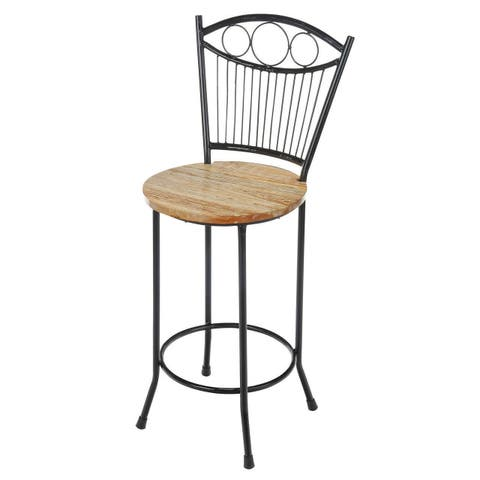 Handmade French Country Iron and Wood Counter Stool (India)
