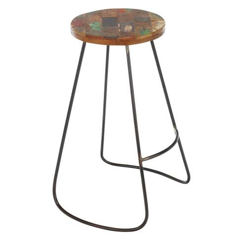 Handmade Edison Reclaimed Wood and Iron Stool (Indonesia)