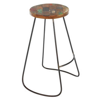Handmade Edison Reclaimed Wood and Iron Stool (Indonesia)