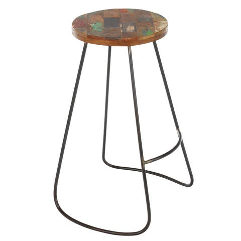 Handmade Edison Reclaimed Wood and Iron Stool (Bali)