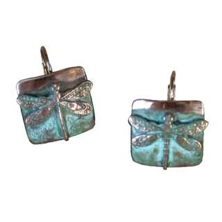 Handmade Patina Small Dragonfly Earrings by Elaine Coyne