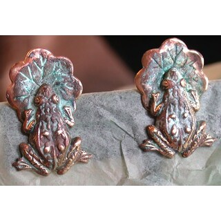 Handmade Patina Frog on Lily Pad Earrings (United States)