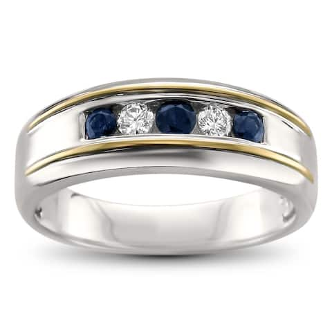 Montebello Men's 14KT Gold 1/2ct TGW Blue Sapphire and Diamond Band