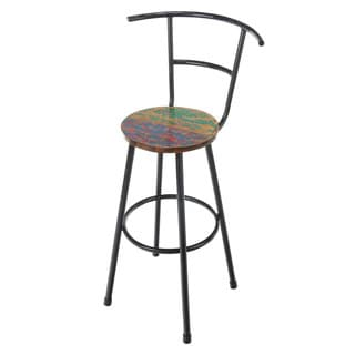 Handmade Reclaimed Boat Wood and Iron Bar Stool (Bali)