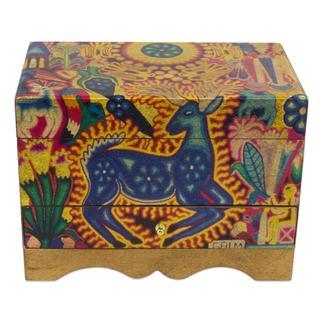 Handmade Decoupage Jewelry Box, 'Kawuyumaire Guardian' (Mexico)