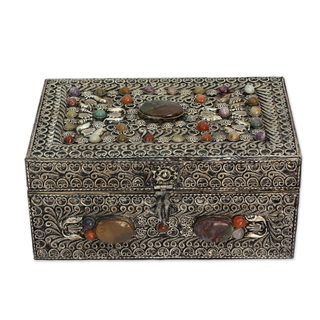Brass Jewelry Box, 'Mughal Paradise' (India)