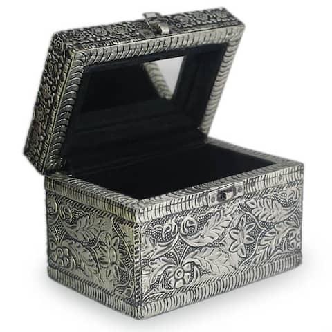 NOVICA Handmade Brass Jewelry Box, 'Persian Paradise' (India) - 3.9