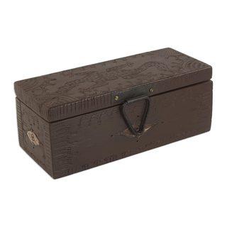 Handmade Wood Jewelry Box, 'Gecko Guardian' (Ghana)