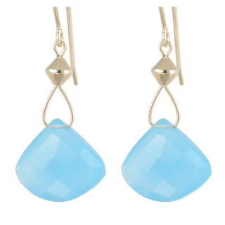 Handmade Blue Chalcedony Drop Earrings (United States)