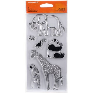 "Fiskars Clear Stamps 4""X8""-Day At The Zoo"