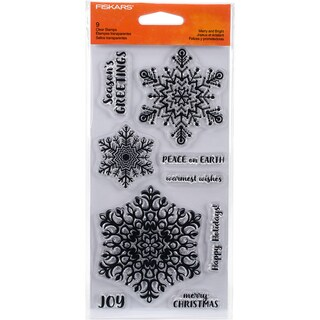 "Fiskars Clear Stamps 4""X8""-Merry & Bright"