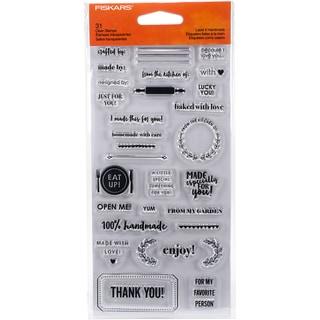 """Fiskars Clear Stamps 4""""X8""""-Label It Handmade"""