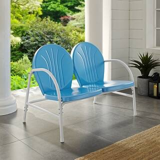 Griffith Sky Blue Steel Outdoor Love Seat