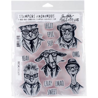 "Tim Holtz Cling Stamps 7""X8.5""-Hipster"