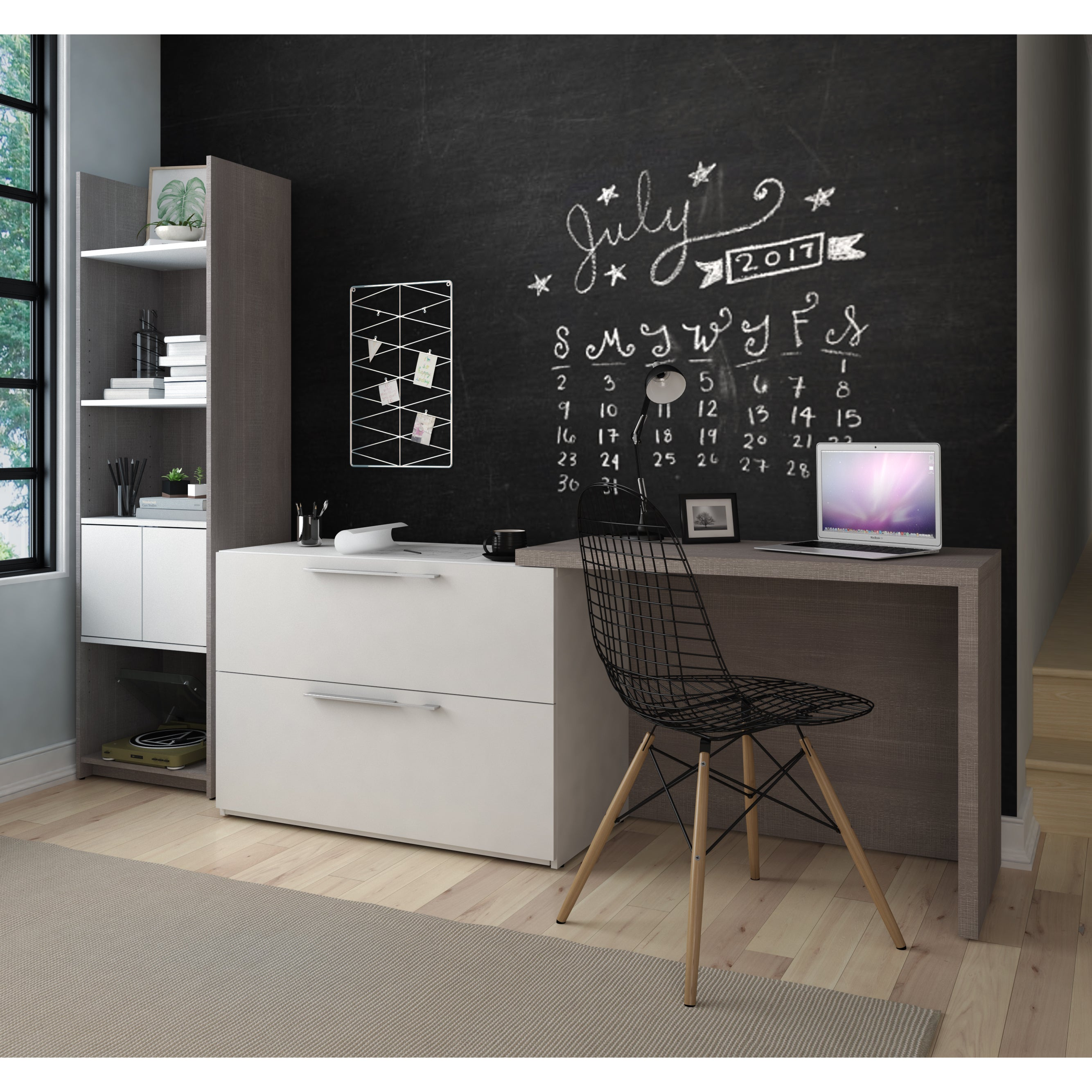 Bestar Small Space 2-Piece Sliding Computer Desk and 20-i...