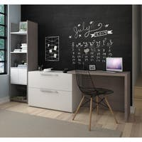 Bestar Small Space 2-Piece Sliding Computer Desk and 20-inch Storage Tower Set