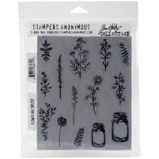 "Tim Holtz Cling Stamps 7""X8.5""-Flower Jar"