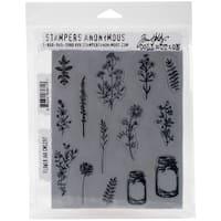 "Tim Holtz Cling Stamps 7""X8.5""-Flower Jar"