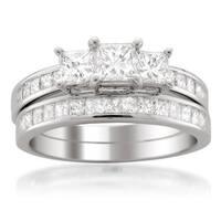 Montebello Jewelry Platinum 2ct TDW Three-Stone White Diamond Engagement Ring Wedding Bridal Set (H-I, SI1-SI2)