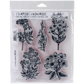 "Tim Holtz Cling Stamps 7""X8.5""-Illustrated Garden"