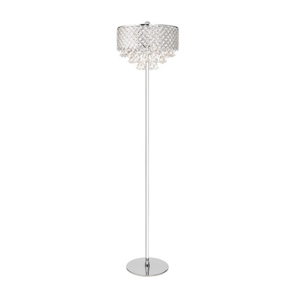 Chrome Finish Crystal-encased Floor Lamp