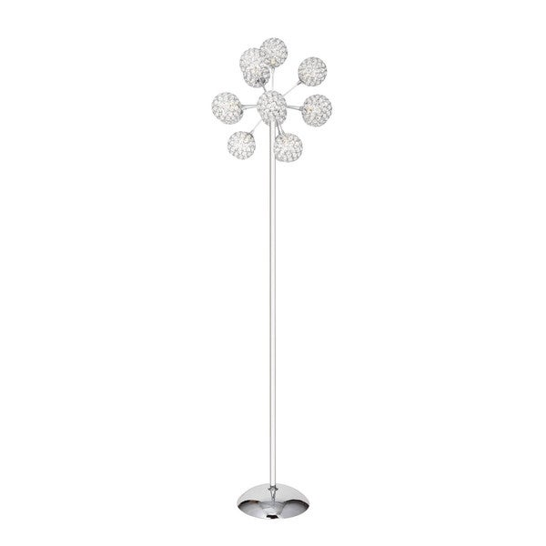 Silver Finish Crystal Cylinders 13-dome Floor Lamp