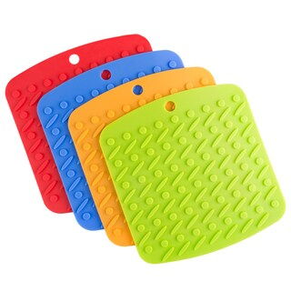Silicone Pot Holder, Trivet Mat, Jar Opener, Spoon Rest, and Garlic Peeler - 4 pc - by Lavish Home