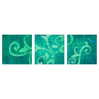 Emerald Greenery Triptych Wall Art (Set of 3) - Green/Multi