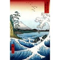 Crashing Waves Ukiyo-e by Hiroshige Wall Art - Multi