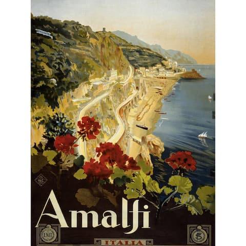 Handmade Coast of Amalfi Vintage Travel Art