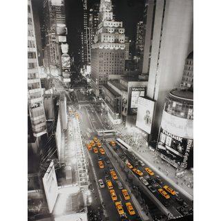 Taxis in Times Square Wall Art - Black/Grey