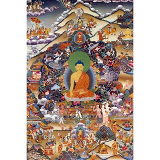 Footprints of Enlightenment Tibetan Wall Art - Brown