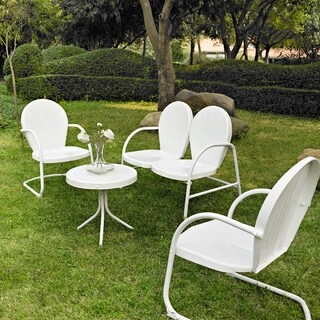 Griffith White Steel Outdoor Conversation Seating (4-Piece Set)